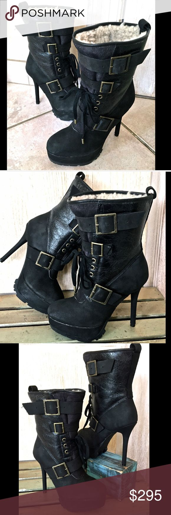"""Koolaburra  Heel Biker Boot Distressed Leather 5 Koolaburra Women's Jaden High Heel Biker Boot in Black Distressed Leather  as seen on KIM KARDASHIAN rubber sole Shaft measures approximately 6.5 from arch Boot opening measures approximately 15 around Upper: Spanish Merino/Leather Accents Fits : True to Size New In Box  *   Size:  5 M retail price: $395.00  measures: 5"""" stiletto heel koolaburra Shoes Heeled Boots"""