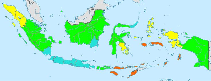 Indonesia total fertility rate by province 2010 - orange: 3,5 - 4 ; yellow: 3 - 3,5 ; green: 2,5 – 3 ; teal: 2 – 2,5 ; blue: 1,5 – 2