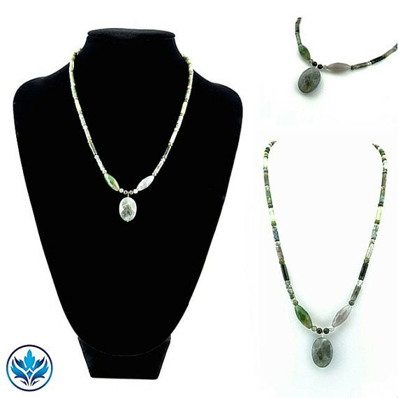 Labradorite and Indian Agate Necklace by BlueFireAccessories
