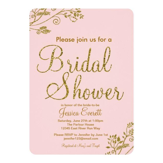 4483 best gold wedding invitations images on pinterest gold blush pink gold glitter bridal shower invitation filmwisefo Gallery