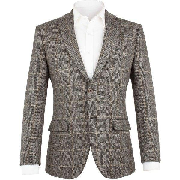 Aston & Gunn Walton Grey Check Jacket (5.900 RUB) ❤ liked on Polyvore featuring men's fashion, men's clothing, men's outerwear, men's jackets, sale men coats and jackets, mens grey jacket, mens hooded blazer, mens checkered blazer, mens hooded blazer jacket and mens gray blazer