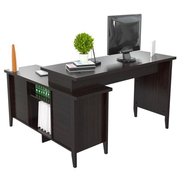 Inval 59 In Espresso L Shaped 2 Drawer Computer Desk With Keyboard Tray Et 4315 The Home Depot Desk With Keyboard Tray Desk Computer Desk With Shelves