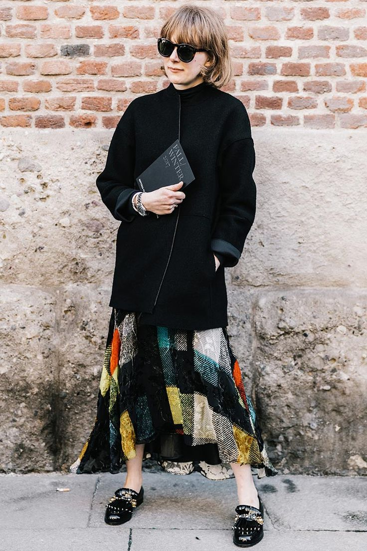 Io Sono l'Amore | Checked pattern skirt | Black jacket | Loafers.