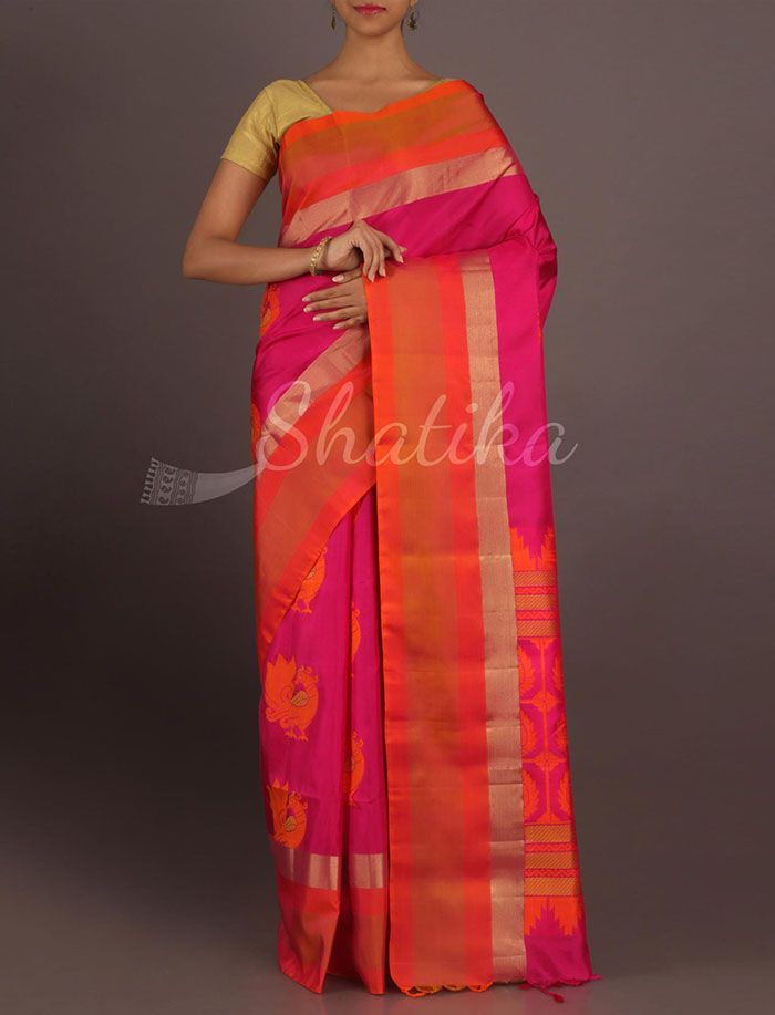 Shravanti Pink And Orange Peacock Motifs Pure #PattuSilkSaree