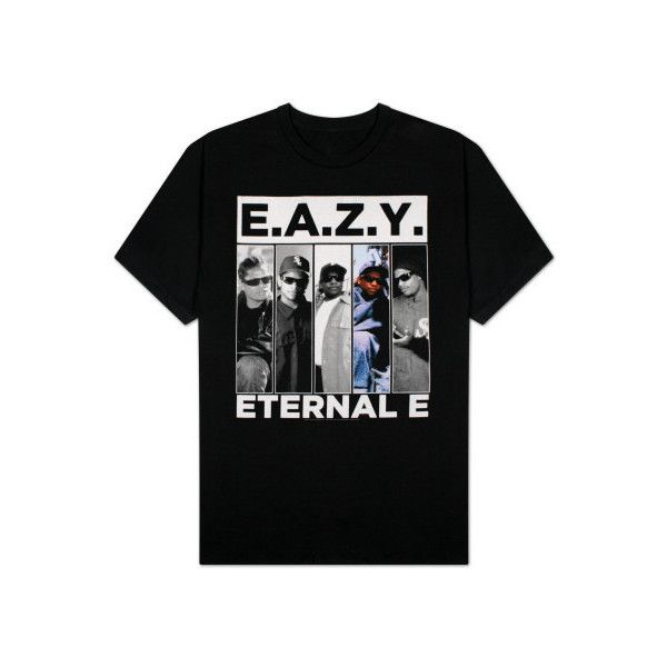 Starshop Music Hip Hop and Rap - Eazy E Eternal E - (T-Shirt) at... ❤ liked on Polyvore featuring tops, t-shirts, black t shirt, black crop top, black tee, black top and henley t shirt