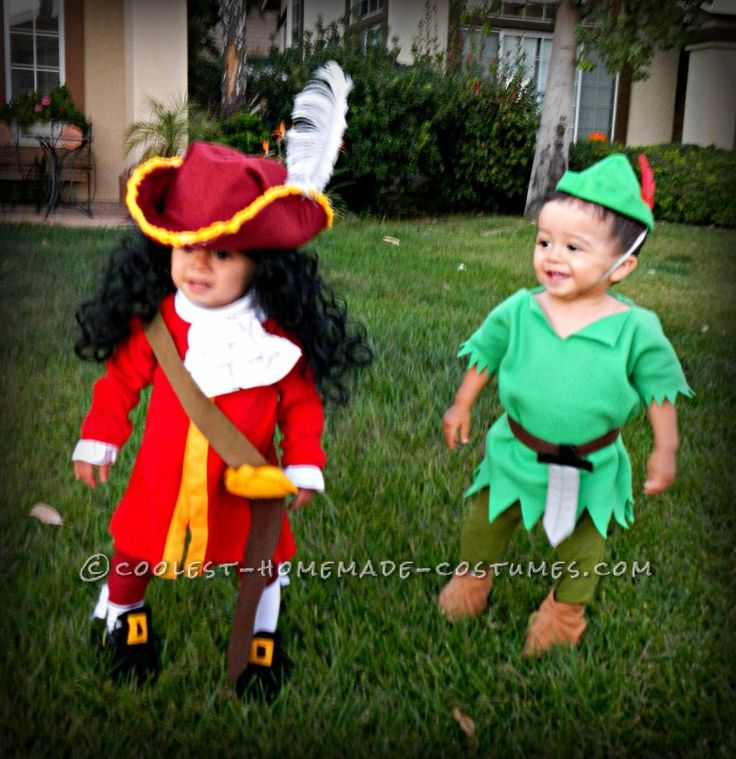 Cool Captain Hook and Peter Pan Twin Toddler Costumes and Daddy Mr. Smee - 1