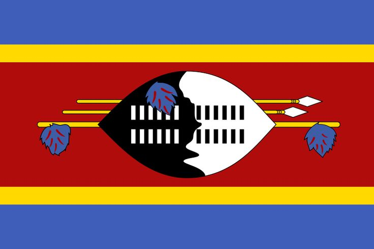 National flag of Swaziland from http://www.flagsinformation.com/swaziland-country-flag.html  Three horizontal bands of blue (top), red (triple width), and blue; the red band is edged in yellow; centered in the red band is a large black and white shield covering two spears and a staff decorated with feather tassels, all placed horizontally.