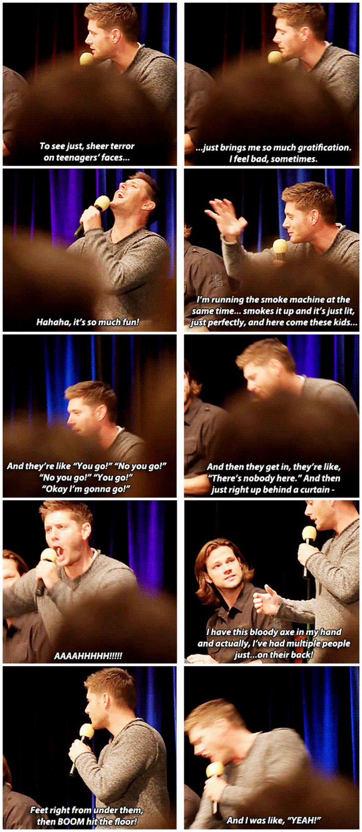 [gifset] Jensen talking about working at a haunted house. #ChiCon12 #Jensen #Jared