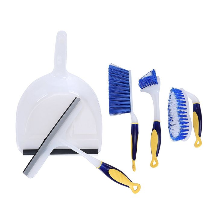 Dust Pan with Brush and Handle, Shower Squeegee, Scrub Brush, Toilet Bowl, Tile, Grout, or Sink Brush with Comfort Grip – 5 Piece Set – Blue – Great for Dorm and Starter Home ** Remarkable product available now. : Garden tools