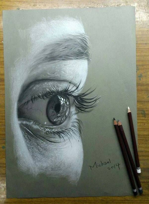 Realistic eyes drawing by micheal tarsan http://webneel.com/40-beautiful-and-realistic-pencil-drawings-human-eyes | Design Inspiration http://webneel.com | Follow us www.pinterest.com/webneel