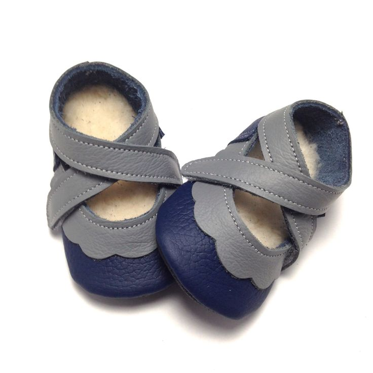 Handmade soft soled lambswool lined leather baby girl shoes.  Navy blue and grey baby slippers. Moccasins. Crib Shoes by LilAussieShoeCo on Etsy https://www.etsy.com/listing/205640957/handmade-soft-soled-lambswool-lined