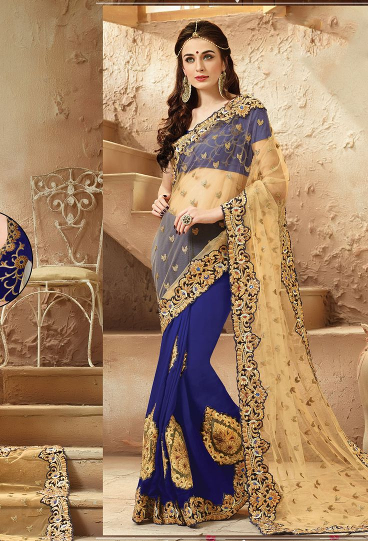 Beige,Royal Blue Georgette,Net #Half N Half #Saree#nikvik  #usa #designer #australia #canada #freeshipping #wedding