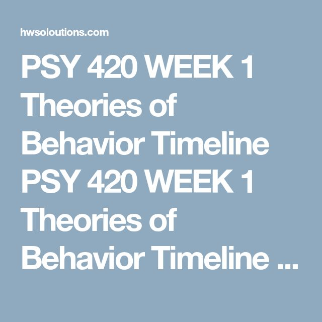 PSY 420 WEEK 1 Theories of Behavior Timeline PSY 420 WEEK 1 Theories of Behavior Timeline PSY 420 WEEK 1 Theories of Behavior Timeline Theories of Behavior Timeline  Complete the following table by reordering the theorists according to the relevant date (and providing these dates), writing at least 90 words to describe what the particular theorist was known for and a real-world application of the theory.  Name of theorist Relevant dates Description of what the theoriest is known for…