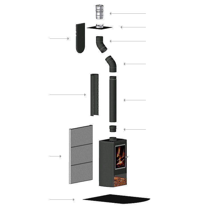 Poêle à bois avec boisseau - Conduit maçonné : une solution DIXNEUF