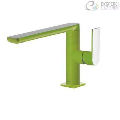 Bateria umywalkowa jednouchwytowa zielony-chrom Loft Colors Tres 20020501VED