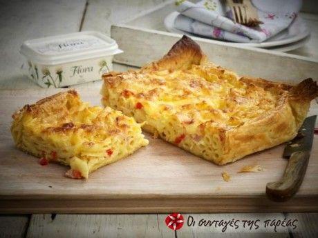 Μακαρονόπιτα τυριών με πέννες και καπνιστό μπέικον