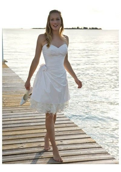 sweetheart satin short wedding dress with lace hem shop wedding dresses at my bridal dress