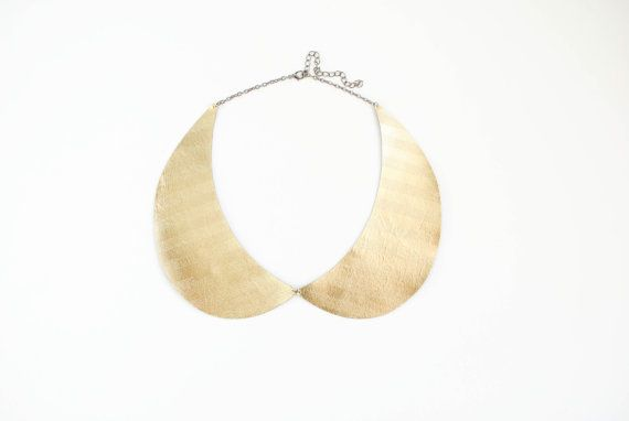 Peter Pan Collar Necklace in Genuine Gold Leather by elfinadesign
