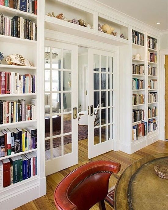 Home Library With French Doors