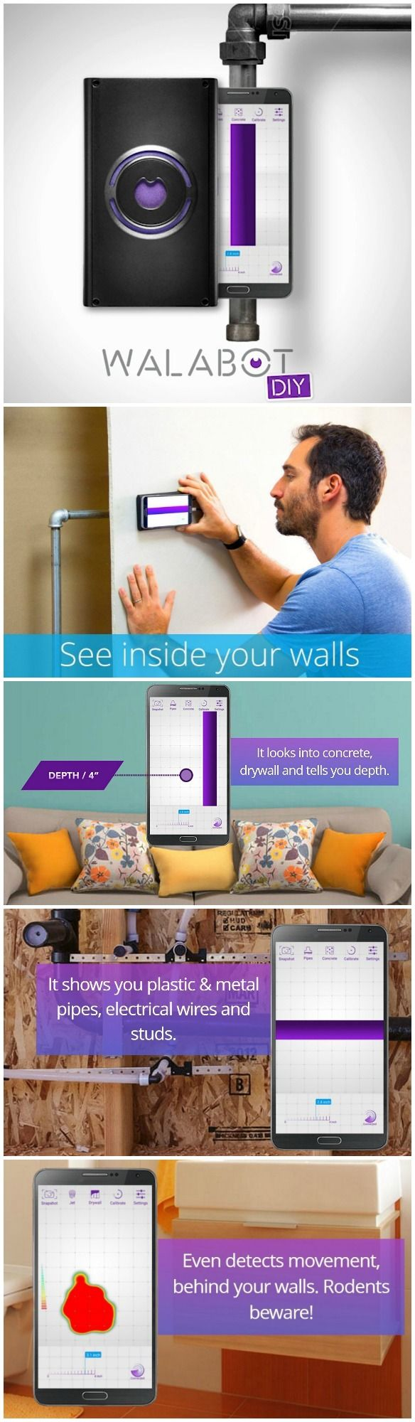 Want to hammer, drill or cut into a wall without the fear of accidentally bursting a water pipe, or slicing an electrical wire? WalabotDIY lets you look inside yours walls and take the guesswork out of your next renovation project. #affiliate
