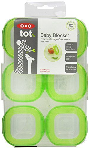 Amazon.com : OXO Tot Baby Blocks Freezer Storage Containers, Clear, 2 Ounce, 6 Count : Baby Food Storage Containers : Baby