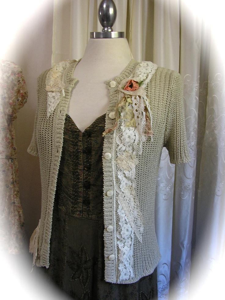 Upcycled Cottage Sweater, altered clothing, vintage lace trim, shabby embellished, bohemian boho creme Etsy.