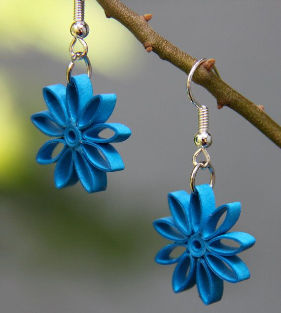 Turquoise Nine Pointed Star Paper Quilled Earrings by HoneysHive, $17.00