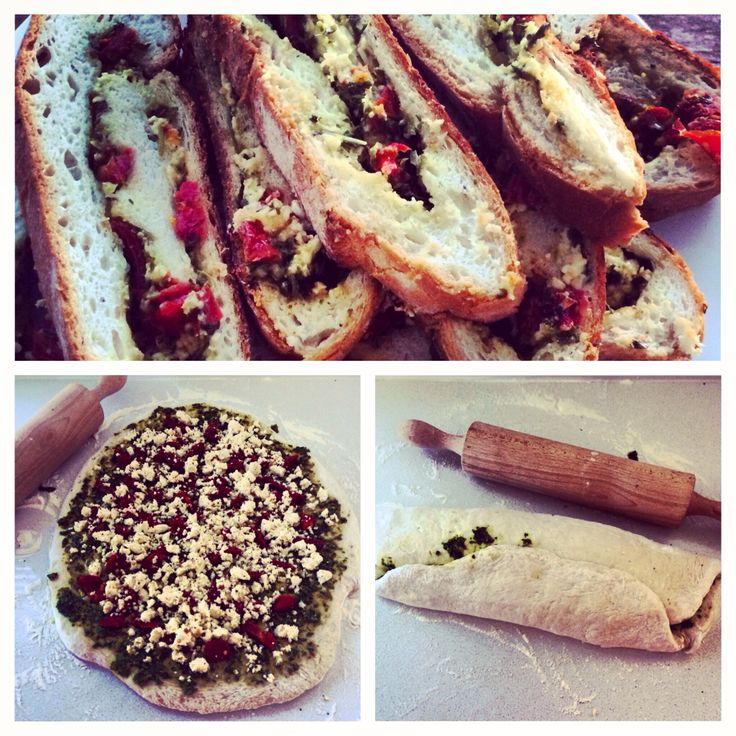 Bread stuffed with basil pesto, sun dried tomatoes & feta