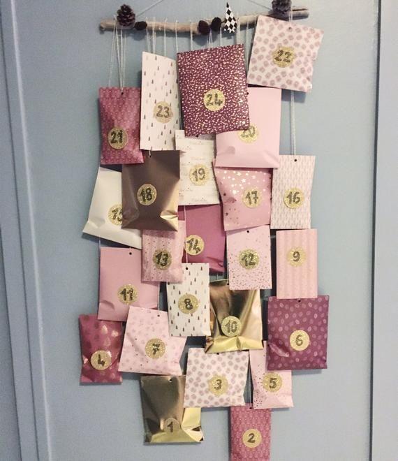 Pink Beige Burgundy And Gold Advent Calendar Scandinavian Etsy In 2020 Advent Calendar Burgundy And Gold Christmas Calendar