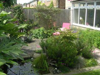 garden landscaping Knaresborough town garden decking water feature