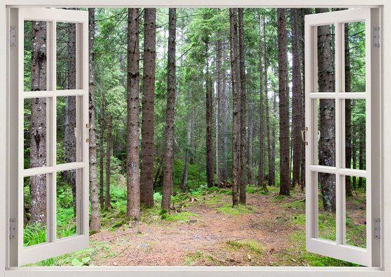 Kleurrijke 3D-venster muur sticker - pad in het bos U kunt ook bestellen deze weergave zonder het raamkozijn, Zo krijg je alleen in de weergave als een enorme muur sticker. === Enorme verscheidenheid aan kleurrijke 3D Vensters === 250 + ander venster weergaven voor home decor. Verticaal of horizontaal - https://www.etsy.com/listing/225891075 Met raamkozijn of zonder raamkozijn. 4 maten • Regular: 50 cm * 70 cm / 19.6 inches * 27 inch (h...