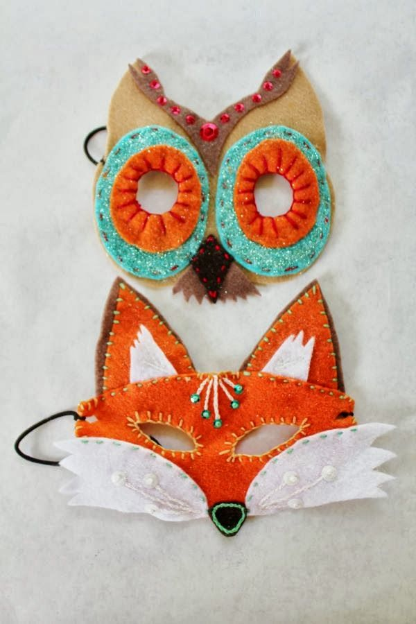 Felt masks to make for Halloween, or other times.