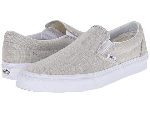 Vans Classic Slip-On™ (Chambray) Gray/True White - Zappos.com Free Shipping BOTH Ways