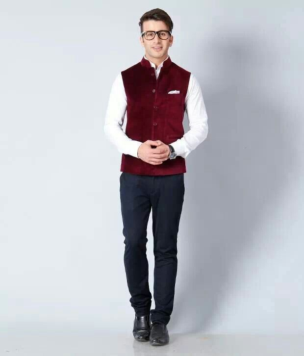 Red VelVet Nehru jacket