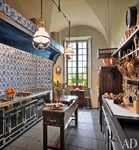 Rustic Kitchen, restoration of Chateau de Sailhant by Joseph Pell LombardiThe Cornue, Copper, Kitchens Tile, Interiors Design, Rustic Kitchens, Galley Kitchens, Kitchens Cabinets, Moroccan Tile, French Kitchens