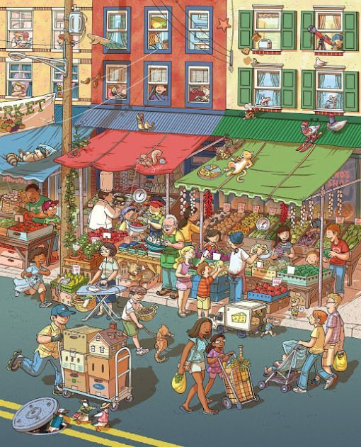 Busy City Market picture | Have students describe everything they see | Spanish Class