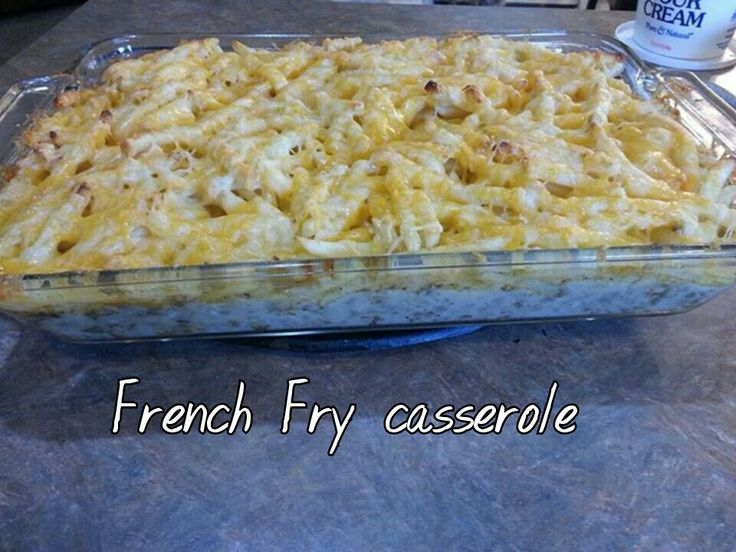 French Fry casserole Need: *1lb Hamburger meat *1 small can each cream of chicken  mushroom  *french fries *4c shredded cheese *1/3c milk.                                            Cook hamburger meat with pepper  season salt Drain, mix with milk, cans of soup, 2c shredded cheese Put hamburger mixture in casserole dish Put French fries on hamburger mixture Sprinkle with season salt  remaining 2c shredded cheese Bake @ 400° for 40min