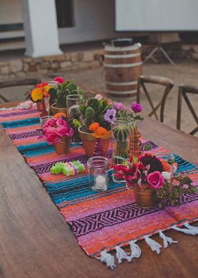 colorful Mexican Fiesta tabletop - perfect for a casual rehearsal dinner with Mexican food on the menu