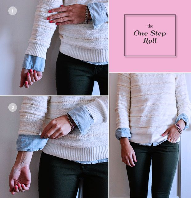 5 ways to roll sleeves: the classic roll, the j.crew roll, the double layer roll, the one step roll, & the cardigan roll