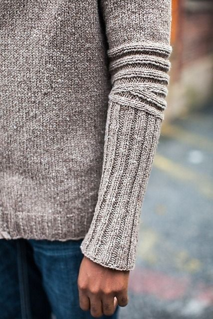 knitterswithattitude:  thejitteryknitter:  catticalthrop:  branda:  Chicane by Cookie A  On ravelry  Intriguing sleeve shaping detail  yes for articulated elbows