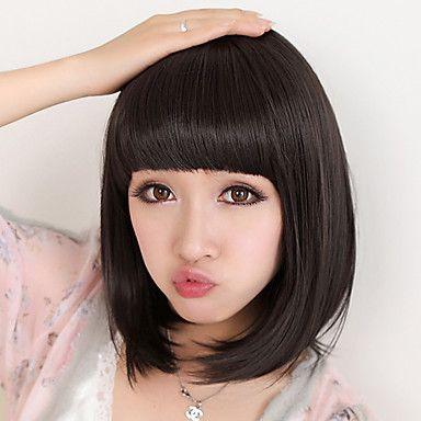 Capless Kort Bob högkvalitativa syntetiska naturlig svart rakt hår peruk Full Bang – SEK Kr. 57