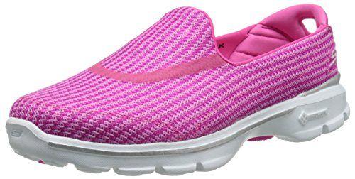 Skechers  Go Walk 3,  Damen Sneakers , Pink - Pink (hpk) - Größe: 35 - http://on-line-kaufen.de/skechers/35-skechers-go-walk-3-damen-sneakers