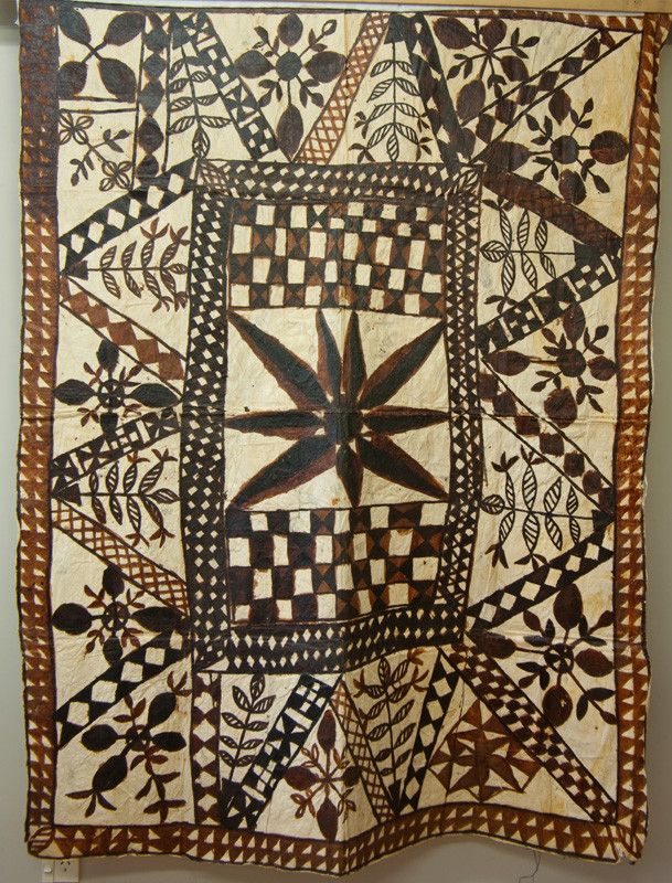 Tapa or Siapo cloth, Samoa.Collection of Te Manawa Museums Trust nzmuseums.co.nz