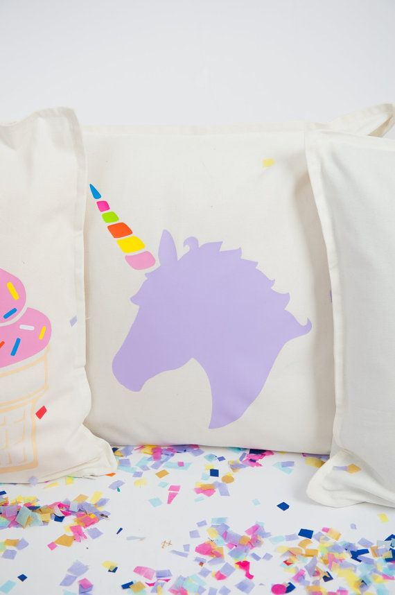 Lilac unicorn pillow cover by FancyItPretty on Etsy $25.00
