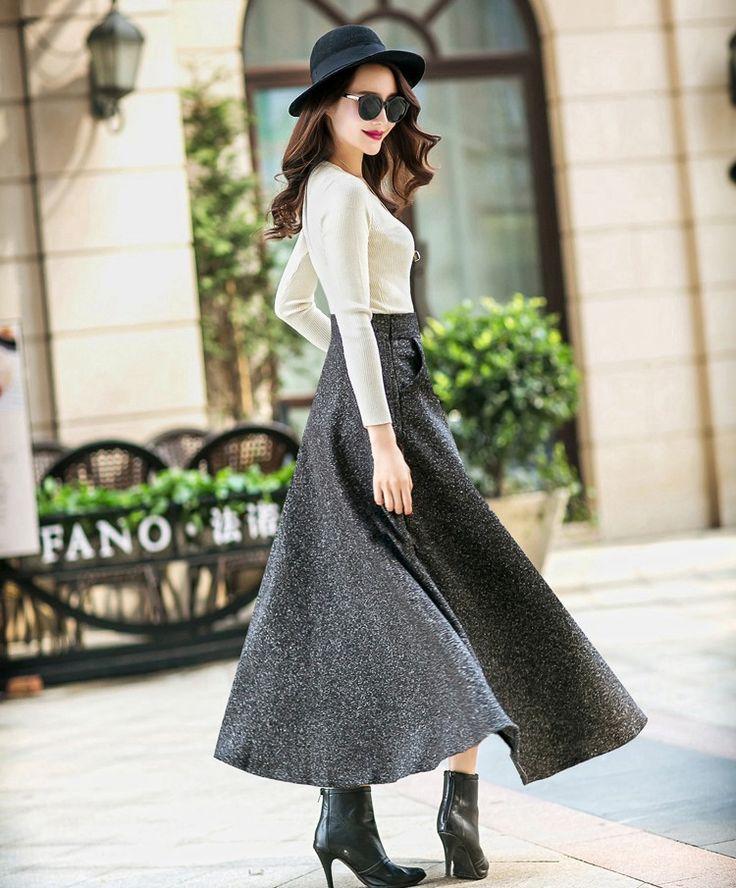 スカート - レトロ風スカート新入荷 着痩せ効果抜群なAラインロング丈無地ラシャスカート