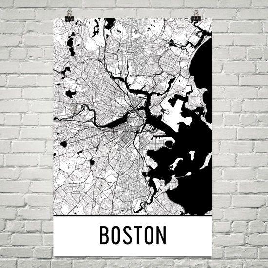 Boston Map Boston Art Boston Print Boston by ModernMapArt on Etsy