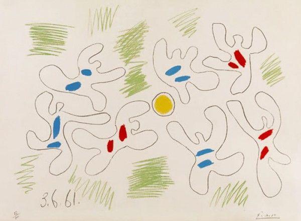 Picasso, Footballeurs 1961 Le ballon comme un soleil autour duquel gravitent des astres en short. Picasso était, dit-on, passionné de foot, mais il n'en a manifestement pas retenu grand-chose : il y a un rouge qui est très clairement hors-jeu...