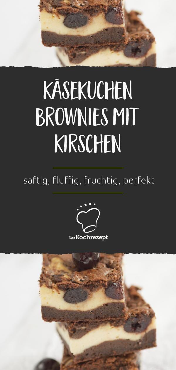 Käsekuchen Brownies mit Kirschen