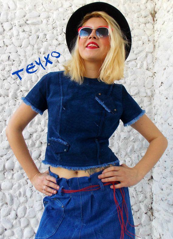 Denim Blouse / Bohemian Blouse / Denim T-shirt / Blue Jeans Blouse / Denim Top TT41