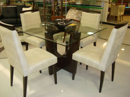 mesa de jantar quadrada 4 lugares com tampo de vidro
